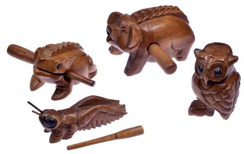 LOGOPLAY 4 Klangtiere im Set ( Frosch, Schwein, Grille, Eule) - Klang Tiere - Musik Tiere - Musik-/Percussion-Instrumente aus Holz