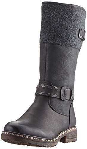 Rieker Damen 94779 Hohe Stiefel, Schwarz (schwarz/schwarz/Altsilber/anthrazit 00), 39 EU