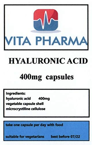 HYALURONIC Acid (HIGH Strength) 400MG 120 Capsules, VITA PHARMA, 4 Months Supply, Suitable for Vegetarians, Produced in The UK