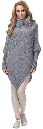 Merry Style Damen Poncho Moena(Melange/Grau, One Size)