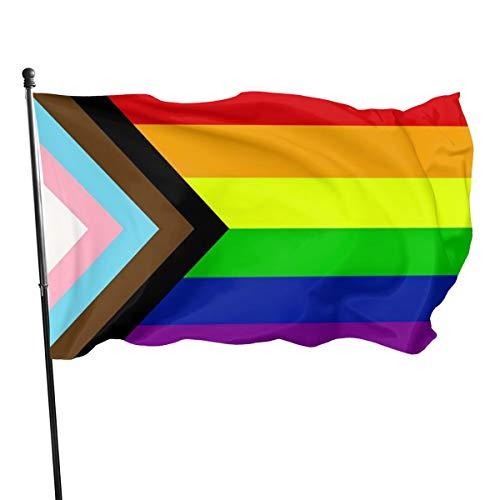 Haelhorneger Rainbow Gay Bisexual Progressive Pride Rainbow Flag 3' X 5' Indoor Outdoor Banner