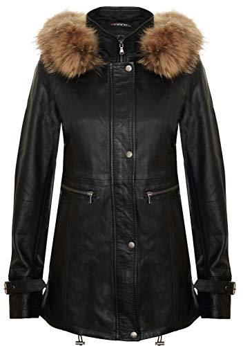 Infinity Leather Damen Schwarz Warme Lederjacke Abnehmbare Kapuze Parka Regenmantel M