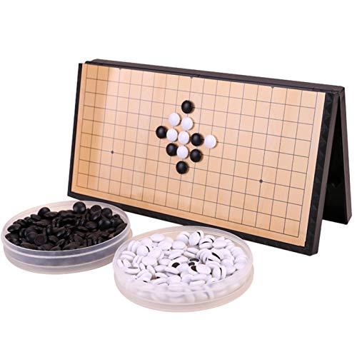 MOVKZACV Go Schach Brettspiel Set, Tragbares magnetisches Go-Spiel-Set, faltbares Schachbrett, Magnetische Go Game Board, Weiqi Board, Pädagogisches Puzzle-Spiel für Kinder
