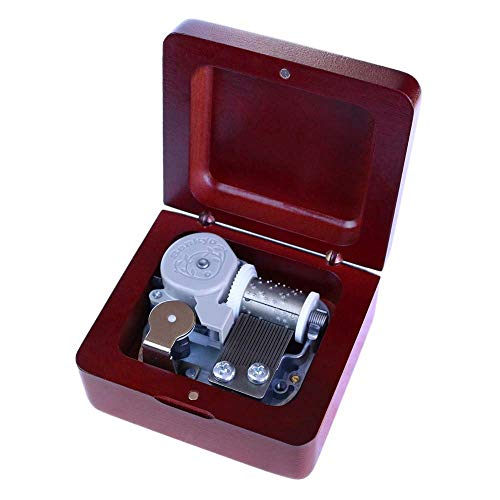 Lecez Castle Micros Music Box, Carrousel de la Vie Clockwork 18-Note Rhythm Joli Cadeau Creative Cadeau Belle Mélodique Capacité Pratique, Brun Rouge