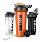 Babacom Borraccia Shaker con agitatore per proteine in agitatore con spazzola per la pulizia 28 oz / 780 ml per atleti e fitness BPA arancione brillante