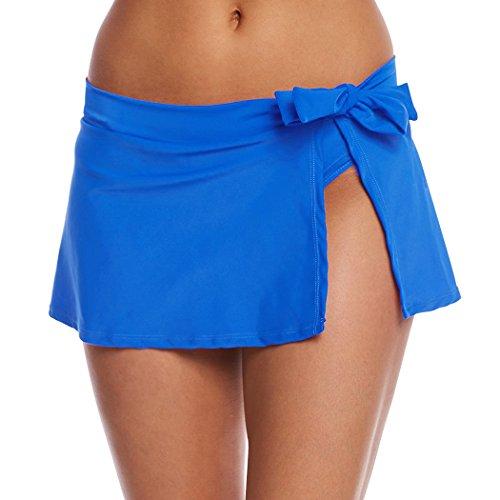 YoungSoul Damen Strandrock Bikini Rock Badeshorts Schwimmen Baderock mit seitlichen Schlitzen und Taillenschnürung Blau EU 46-48