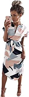 CEGFXCSW Dress Women Floral Print Beach Dress Fashion Boho Summer Dresses Ladies Vintage Party Dress