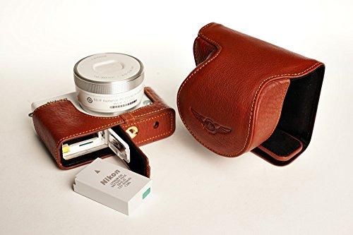 ニコン Nikon 1 J4用本革レンズカバー付カメラケース(電池,SDカード交換可) ブラック、ブラウン (レンズカバー付ケース, ブラウン)