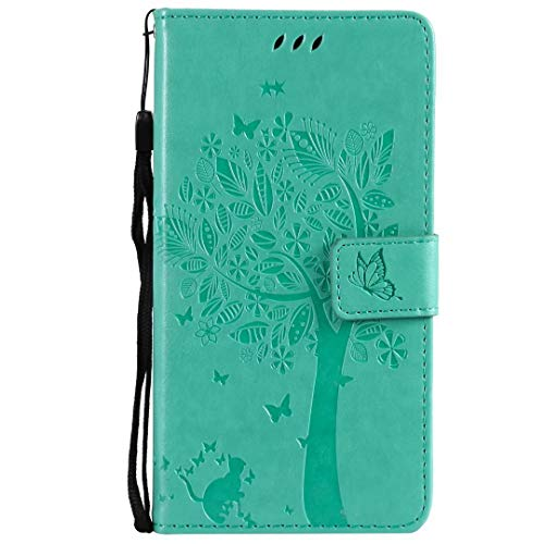 Galaxy A20e Hülle Case für Samsung Galaxy A20e HandyHülle Lotus Baum Muster Leder Flipcase Schutzhülle Brieftasche Flipcover Tasche Ständer Magnetverschluss Kartenfach Handytasche Grün