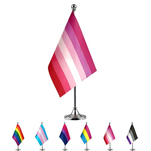 TSMD Lesbian Pride Flag Small Mini LGBT Rainbow Desk Table Flags with Stand Base,Decorations Supplies for Mardi Gras,Gay Pride Rainbow Party