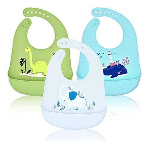 Lätzchen Wasserdichte Silikon Baby, Baogaier Silikon-lätzchen Babylätzchen mit Auffangschale Zum Bemalen BPA Frei Abwaschbar Verstellbare Einfache Reinigung Elefant Dinosaurier Wal zum Jungen, 3PCS