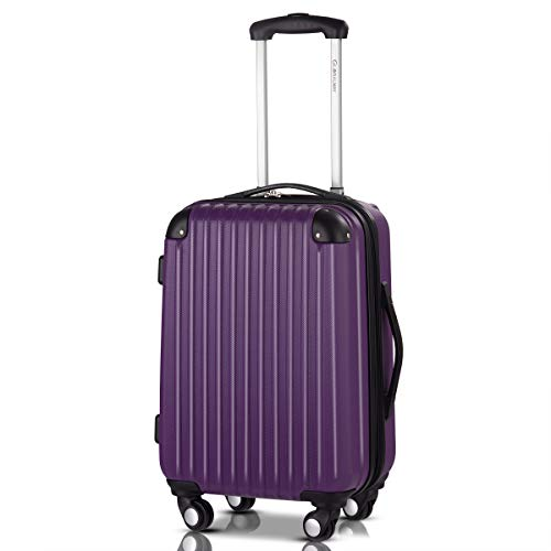 Goplus 20' ABS Carry On Luggage Expandable Hardside Travel Bag Trolley Rolling Suitcase GLOBALWAY (Purple)