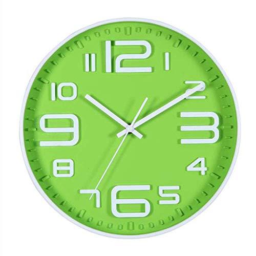 Wandklok, mode, elektronische wandklok, geruisloos, moderne wandklok, rond, minimalistisch voor de vrije tijd, groen