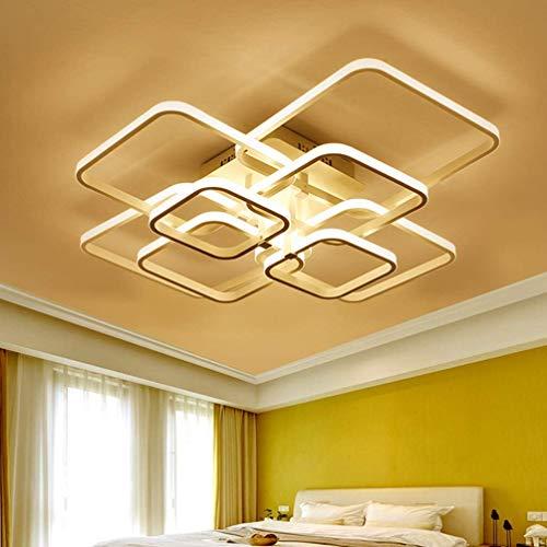 Plafoniera da incasso a LED Plafoniera quadrata moderna in metallo Pannello in acrilico bianco Telecomando dimmerabile