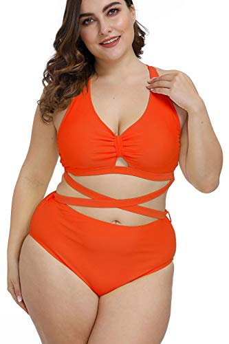 Kisscynest Women's Plus Size Swimwear 2 Piece High Waisted Swimsuit Orange 3XL