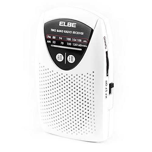 Elbe RF-50 Miniradio de bolsillo sintonizador analógico am FM, auriculares incluidos, súper Slim, altavoz incorporado, funciona con pilas, color blanco