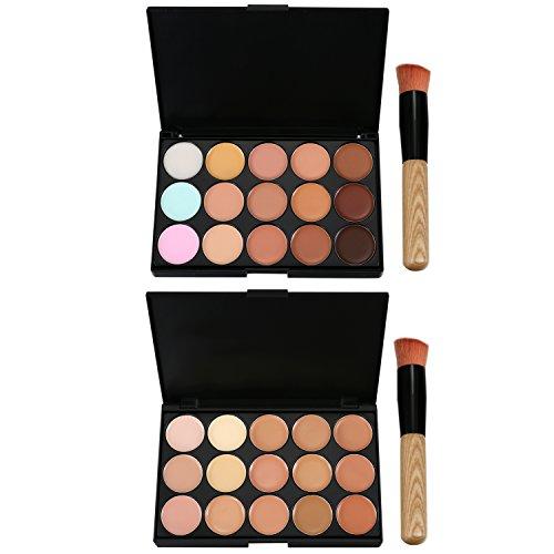 JewelryWe 2 Set de Paleta de Corrector de Maquillaje 15 Colores Con Pincel, Paleta de Sombra De Ojos Impermeable Base Facial Para Mujer, Ligero y Transpirable
