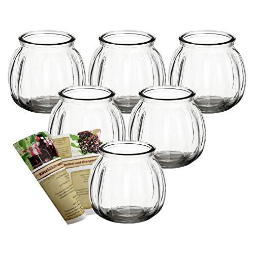 gouveo 6er Set Teelichtgläser Vintage und 28-seitige Rezeptbroschüre Windlichter, Windlichthalter, Vase