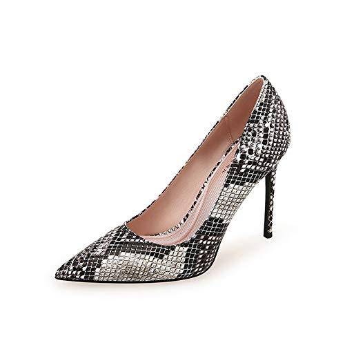 Ainslever High Heels für Frauen Schlangenhautmuster Spitz Feiner Absatz Einzelne Schuhe elegant Flacher Mund Komfortabel rutschfest Sexy High Heels,01,36