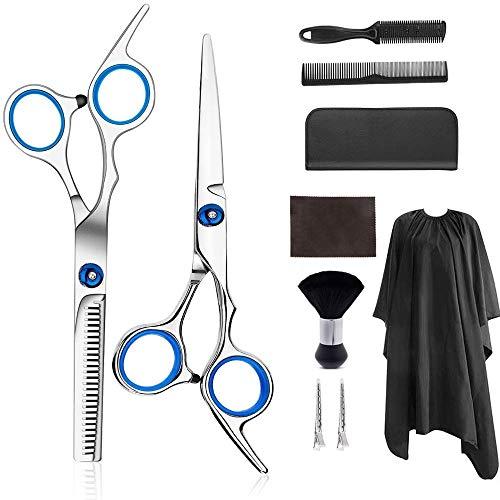 Hair Cutting Scissors Set, Professional 9 Pcs Haircut Scissors Kit for Women Men Hair Cutting Shears Barber Salon Home Barber Thinning Scissors, Comb,Cape,Clips