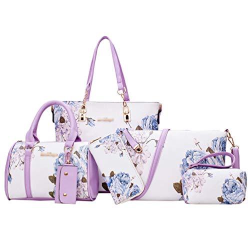 Kairuun Damen Große Kapazität Sechs-Teilige Handtasche Einfach Freizeit Sommer Umhängetasche Handtasche Brieftasche Schlüsselfall Einkaufstasche Kupplung Tasche Kit 2#Lila