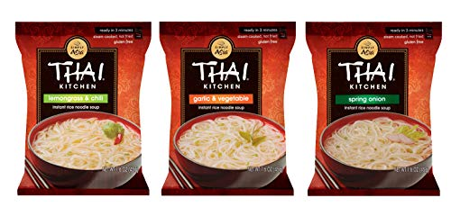 Thai Kitchen Gluten Free Instant Rice Noodle Soup 3 Flavor Variety Bundle, 3 Each Lemongrass & Chili, Spring Onion, Garlic Vegetable, 1.6 Oz, Pack of 9