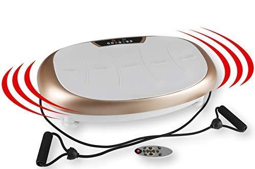 VITALmaxx Vibrationstrainer   3 Verschiedene Trainingszonen   30 Vibrationsstufen individuell einstellbar   Inklusive Expanderbändern mit Griffen [Champagner/Grau]