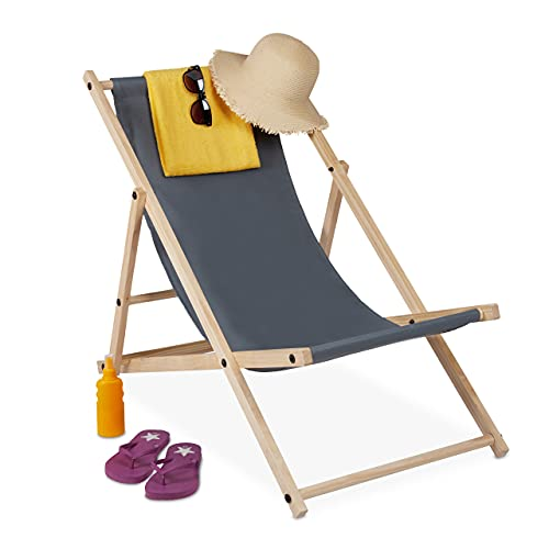 relaxdays Tumbona Plegable, Playa y Jardín, Silla Balcón Relajante, 3 Posiciones, Madera y Tela, 1 Ud, Gris Oscuro