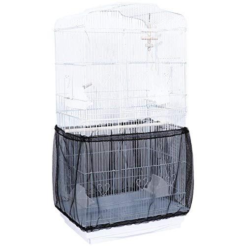 YITON Cubierta para Jaula De Pájaros Cubierta De Polvo De Jaula De Pájaros Recogedor De Semillas Protector De Semillas Falda De Concha Ajustable Trampas Jaula Cesta Negro 1Pz