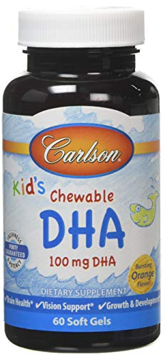 Carlson Labs Kid's Chewable DHA, 100mg Orange Softgels, 60-Count, P35314