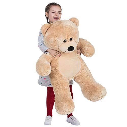 VERCART Orsacchiotto di Peluche Gigante XXL Orso Bambola Morbida Regalo di Compleanno Fidanzata Natale Adulto Bambina Castano 92cm