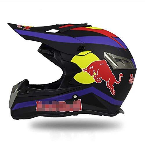 LS Fullface Helm,Motorradhelm Fahrradhelm ABS-GehäUse DOT-Zertifizierung Mehrere EntlüFtungsöFfnungen Coole Form Schnellverschluss Herausnehmbares Futter Schutzbrille Geben Red Bull,A,S
