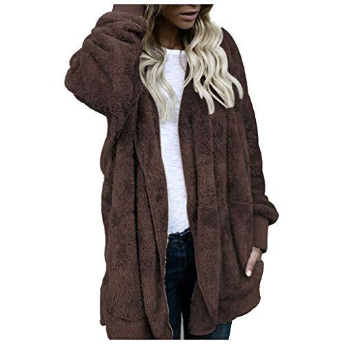WHSHINE Frauen Wintermantel Warm Casual Mantel Langarm Revers Jacke Parka Outwear Damen Teddy Fleece Winterjacke Einfarbig Cardigan Strickjacke Fleecejacke(Kaffee,5XL)