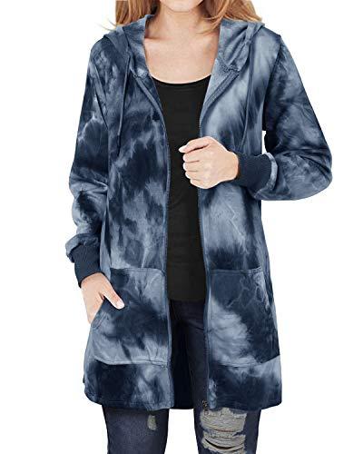 Kidsform Winterjacke Damen Sweatjacke Hoodie Langarm Pullover Kapuzenpulli Outwear Jacken Sweatshirt Kapuzenjacke Herbst B-Blau S