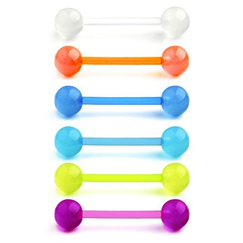 vcmart 6stk Zungenpiercing Barbell Set Leuchten im Dunkeln Flexibel Kunststoff Piercing Zunge Schmuck 12/14/16/18mm Stab