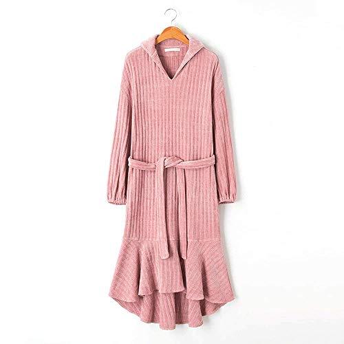 HUAHUA HOMEWEAR Las mujeres Camisón femenino otoño de manga larga de terciopelo de nieve se puede usar fuera de la capa cola de pescado falda de hoja de loto Spa felpa camisón Kimono Homewear, M Venda