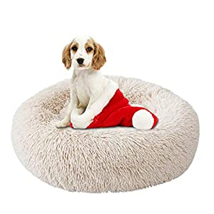 NIBESSER Calming Dog Bed, Donut Dog Bed, Plush Round Donut Cuddler Dog Bed Washable Dog and Cat Cushion Bed, Anti Anxiety Dog Bed, Comfortable Soft Pet Bed Sofa for Small Media Big Dog cat