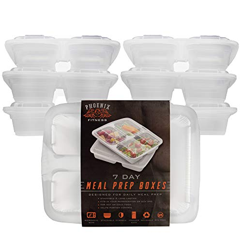 Phoenix Fitness 7 Day Meal Prep Food Storage Containers   Reusable 3 Compartment