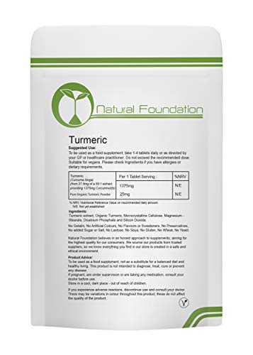 Turmeric Tablets High Strength 1,400mg 90% Curcumin Supplement for Inflammation Digestive Health & Joint Support Tumeric Made in The UK | Natural Foundation Supplements