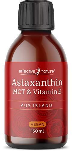 effective nature - Astaxanthin flüssig mit MCT & Vitamin E - 4 mg pro Tagesdosis - Vitamin E zum Schutz der Zellen vor Oxidativem Stress - Vegan - 150 ml