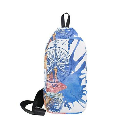 DragonSwordlinsu COOSUN Seashell Náutica Patrón Sling Bag Hombro Pecho Cruz Cuerpo Mochila...