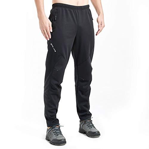 Sp3lops Men's Winter Cycling Pants Fleece Windproof Thermal Biking Pants Lightweight Outdoor Ski Hiking Running Mountain Bike Pants Black