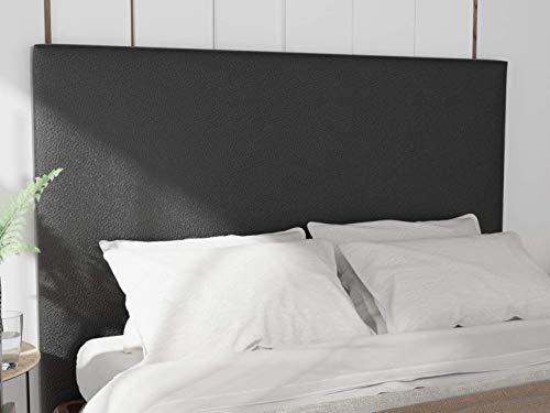 LA WEB DEL COLCHON - Cabecero tapizado Paros para Cama de 135 (145 x 120 cms) Negro Polipiel   Cama Juvenil   Cama Matrimonio   Cabezal Cama  