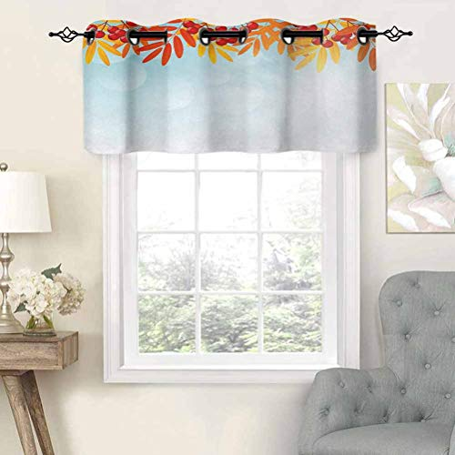 Hiiiman Grommet Blackout Curtains Short Curtains Valance Sunny Background with Red Rowan Fruits on Branches Graphic Border Design, Set of 1, 54'x18' Kitchen Curtains for Living Room