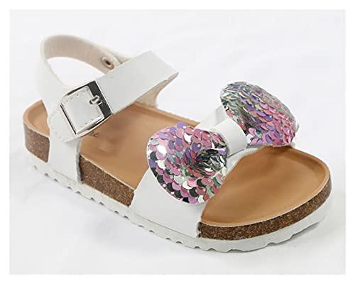 Youpin Senaste sommarskor för barn korkar 2020 mode läder söta barnsandaler för flickor småbarn baby andningsbara rosettskor glitter (färg: Vit, skostorlek: 25)