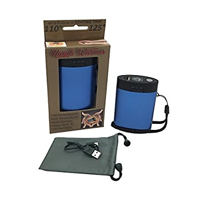 Handi Warmer, Rechargeable Hand Warmer and Device Charger, LED Flashlight, Power Bank, Lithium Ion, Includes USB Charger, Wrist Strap, Carrying Pouch and 4 Language Manual