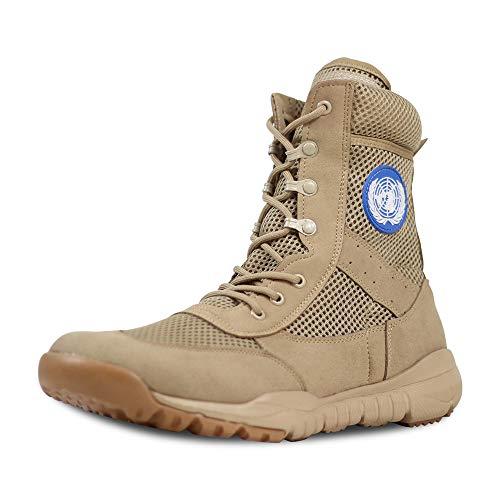 LUDEY Herren Arbeitsstiefel Militärstiefel Wanderschuhe Trekkingschuhe Armee Combat Tactical Boots Outdoor Einsatzstiefel W-Beige 46 EU