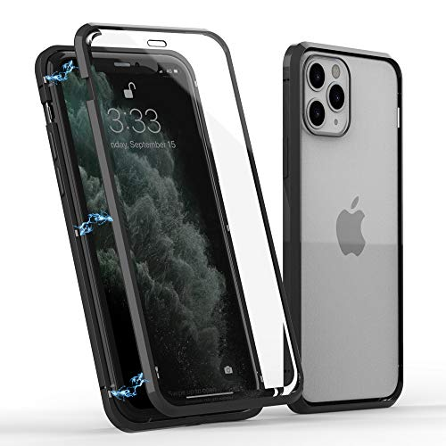 Magnetic Adsorption Case for iPhone 12 Pro Max(6.7 inches), Double Sided HD Tempered Glass with Screen Protector Case for iPhone 12 Pro Max. (Black)