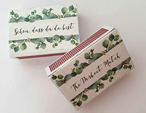 Give-away Hochzeit, Gastgeschenk, Streichholzschachteln, Euklyptusstil