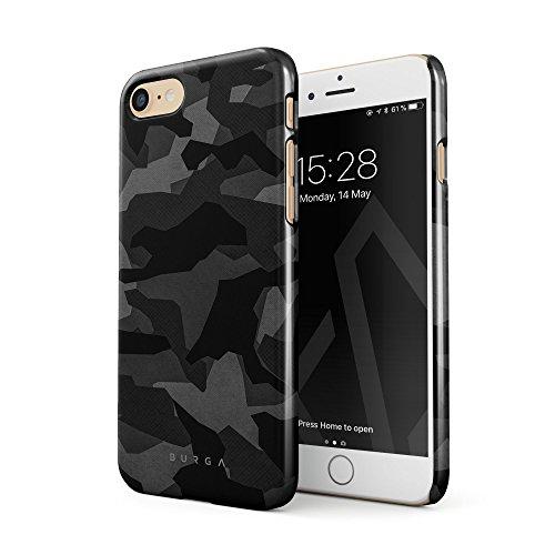 BURGA Hülle Kompatibel mit iPhone 7 / iPhone 8 Handy Huelle Nacht Grau Städtisch Schwarz Camo Camouflage Tarnung Muster Dünn, Robuste Rückschale aus Kunststoff Handyhülle Schutz Case Cover